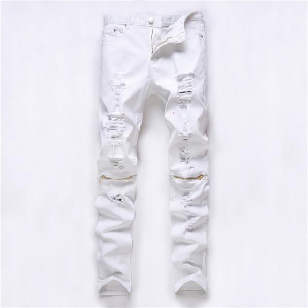 I jeans strappati uomo patch rosso bianco buco lato pantaloni stretch pantaloni casual Jeans slim design