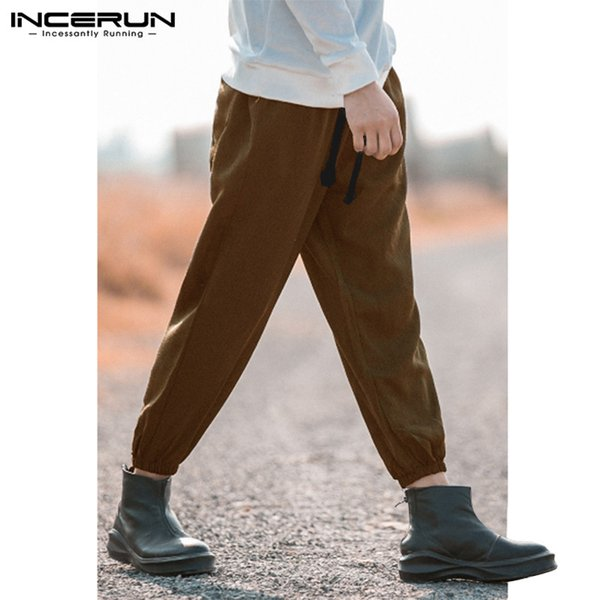 INCERUN Stylish Casual Pants Men Retro Solid Loose High Street Trousers Men 2019 Hiphop Joggers Harem Pants Drawstring S-5XL