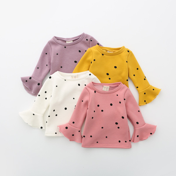 New Autumn Winter Girl T Shirt Long Sleeve Child Trumpet Sleeves T-shirts Kids Dot Printed Clothes Children Fashion Cotton Tops