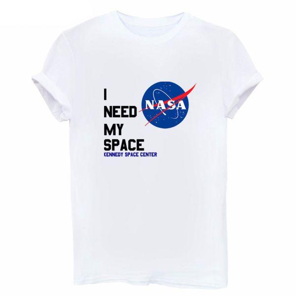 2019 mujer Necesito mi camiseta del espacio Diseño de algodón talla S-3xl Original, linda y divertida camiseta de patrón de primavera