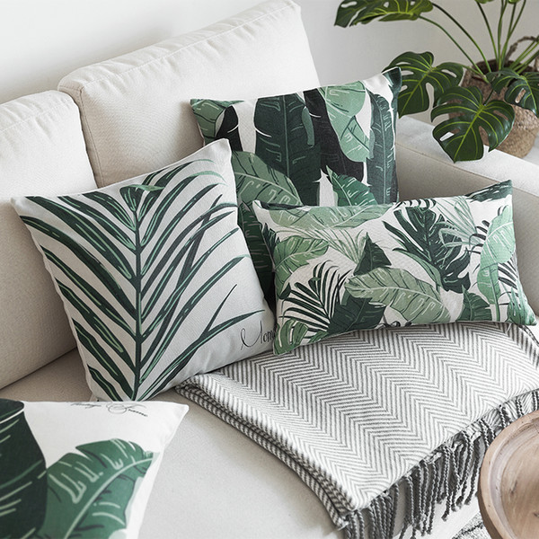 Nordic Style Green Tropical Leaves Printed Cushion Cover Banana Palm Leaves Home Decorative Sofa Car Chair Throw Pillow Case