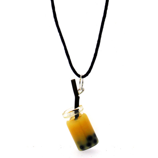 Female fashion personality leather pendant simulation small resin juice bottle pendant necklace