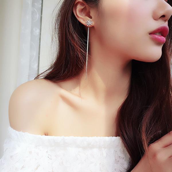 Fashion personality snowflake tassel long earrings Women's simple temperament wild earrings Wholesale jewelry 5-ER0332