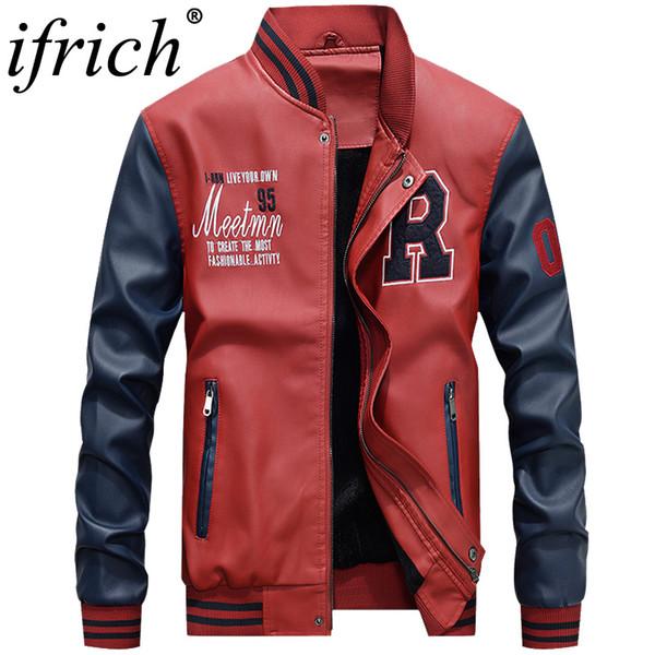 IFRICH Faux Deri Ceket Erkekler Moda Sonbahar Motosiklet PU Deri Erkek Kış Bombacı Ceketler Kabanlar Coat Streetwear