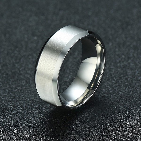 Assorted Colors Mens Stainless Steel Wedding Band Ring Silver Tone Brushed Matte Center Beveled Edge Rings 8MM Male Jewelry