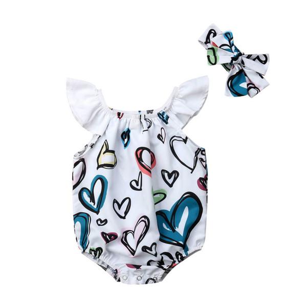Infante recém-nascido do bebê meninas curtas mangas Romper + Headband Bodysuit equipamento do verão Bow lenço Imprimir amorosa roupas coração crianças