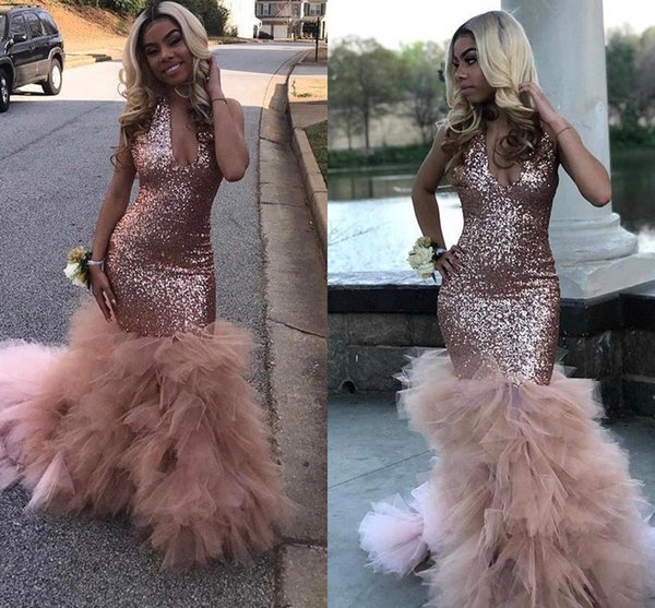 Black Girls Sequins Mermaid Rose Pink Long Prom Dresses 2019 Sexy Halter Deep V Neck Organza Skirt Evening Party Gowns BC1836