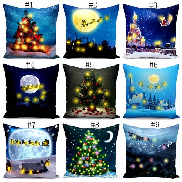 Christmas LED Taie d'oreiller Thème de Noël Lettres Pillowslip Plush Taie D'oreiller Home Sofa Décoratif Coussins Coussins Housses de coussin