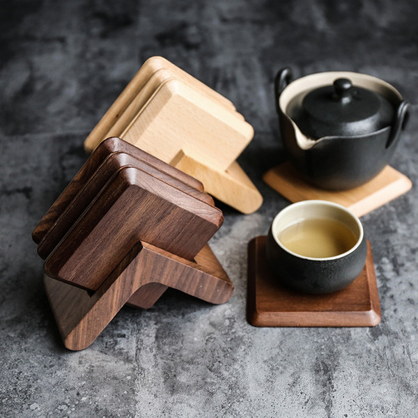 Square Walnut Dark Beech Solid Wood Coaster,7-Piece 3.6 Inch Coaster Set with Holder,Insulation Mat for Drink,Coffee & Tea