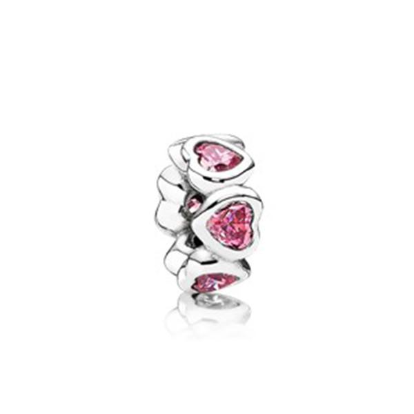NUOVO 100% argento sterling 1: 1 Glamour 791252CZS Fancy Pink Sparkling Hearts Bead Original Women Wedding Fashion Jewelry Regalo 2018