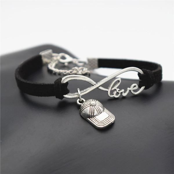 Infinity Love Hip Hop Baseball Cap Hat Sports Pendant Bracelets Boho Weave Black Leather Suede Rope Bangles for Women Men Friendship Jewelry