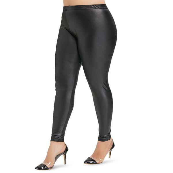 Plus La Taille Faux En Cuir Leggings Femmes Élastique Taille Haute Leggings Stretch Slim Skinny Fitness Legging En Cuir PU Pantalon Pantalon