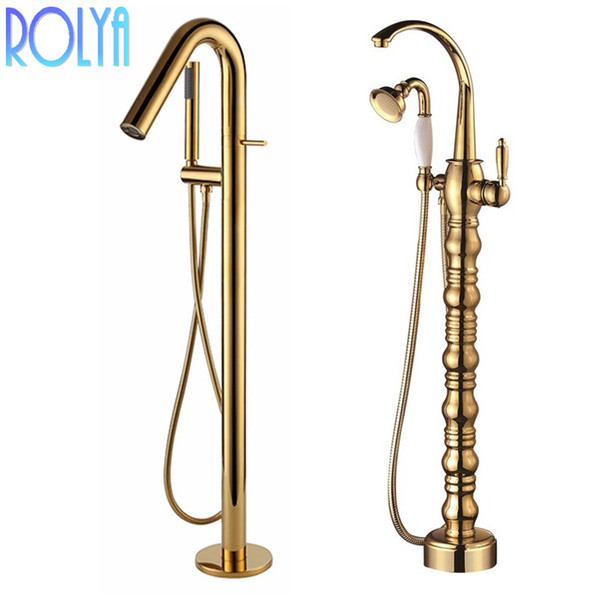 best selling Rolya Luxurious Golden Free Standing Bathtub Faucet Bath Spout Shower Diverter Floor Mounted Bathtub Filler Mixer Taps Shower Faucets