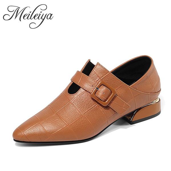 New British Fashion Low Heel Pointed Toe Party Leather Shoes Women Spring Autumn Retro Orange Black Plaid Texture Dress Shoes