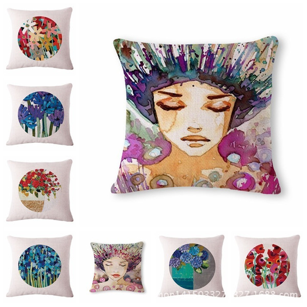 Cartoon Flower , Girl Pattern Cotton Flax Pillow Back Cushion