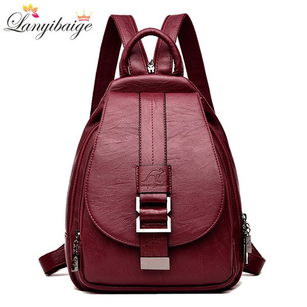 Winter 2018 Women Leather Backpacks Fashion Shoulder Bag Female Backpack Ladies Travel Backpack Mochilas School Bags For Girls J190706
