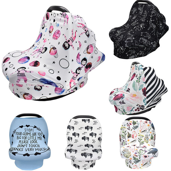 best selling 31 styles INS Floral Stretchy Cotton Baby Nursing Cover breastfeeding cover Stripe Safety seat car Privacy Cover Scarf Blanket M330