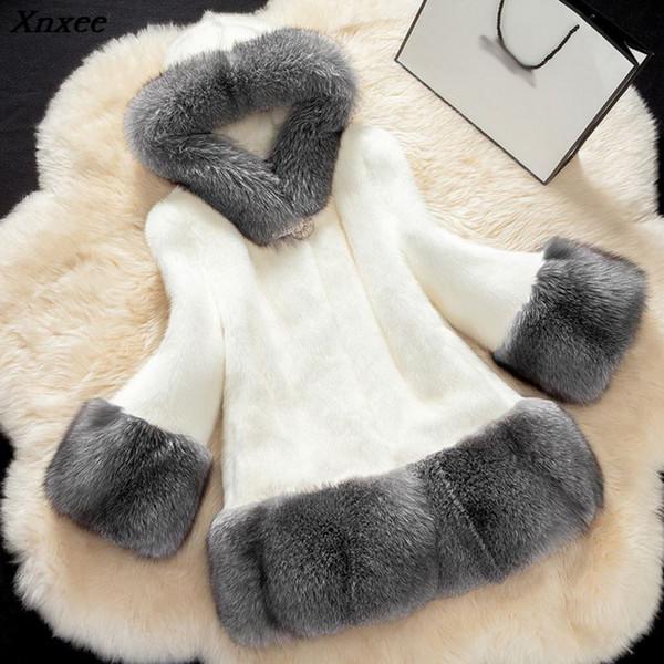 Xnxee donne inverno di lusso faux fur coat 2018 casual plus size faux pelliccia di volpe giacca cappotto femminile tuta sportiva con cappuccio tasca 5xl