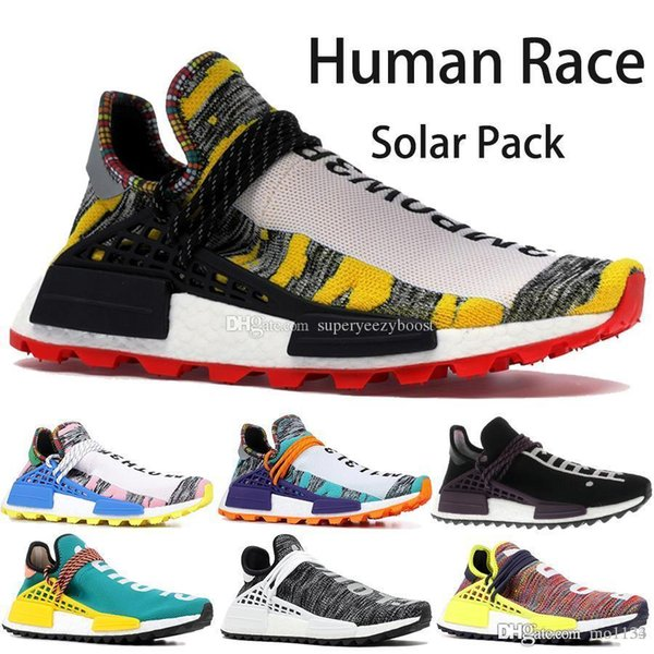 Originals Human Race BBC Designer Shoes Pharrell Williams Hu Solar Pack Oreo Multi Color NERD mens womens Golf running shoes with box