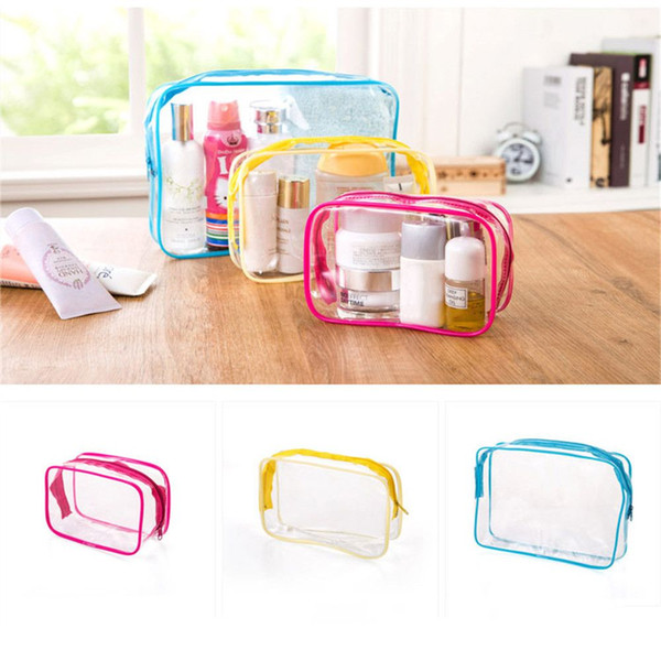 1pc Transparent Cosmetic Bags Waterproof Travel PVC Clear Zipper Bag Stationery Organizer Bath Wash Make Up Tote Makeup Toiletry