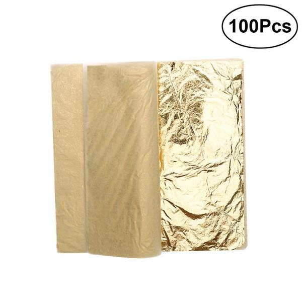 100 Sheets Imitation Gold Leaf 5.5 Inch for Art / Crafts Decoration / Gilding Crafting Frames A30