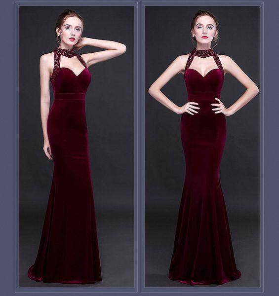 Velvet long evening dress European and American temperament women's 2019 new fishtail skirt host company party v-neck Hanging neck dress