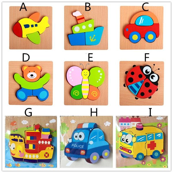 cute animal wooden Puzzles 15*15cm Baby colorful Wood jigsaw intelligence toys toddlers gifts for boyd girls 20 styles