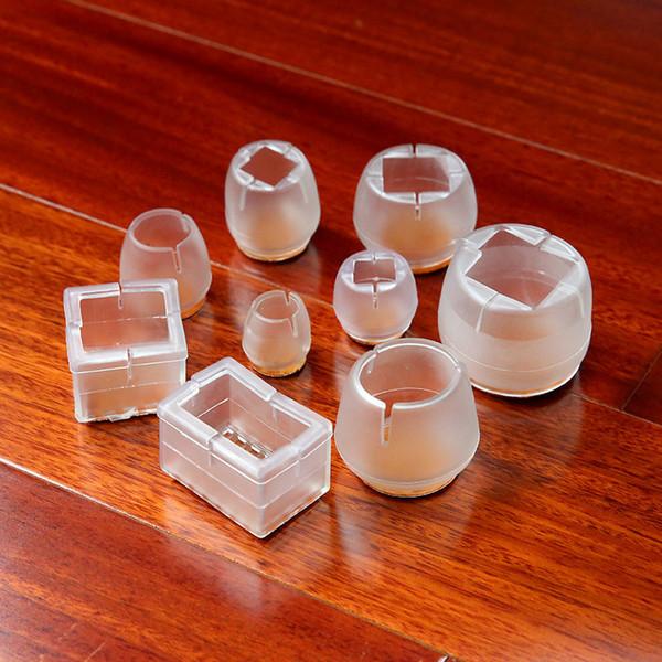 4 Pack ispessito silicone trasparente mobili antiscivolo, tavolo e sedia gambe, pad coperchio protettivo