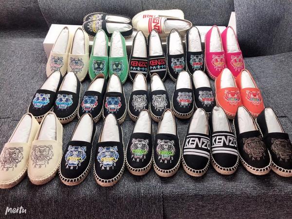 2019 Popular venta caliente hechos a mano de las mujeres de los hombres Low-Top Tiger París Alpargatas Zapatos de pescador Zapatillas de deporte casuales de lona masculina zapato plano 35-44