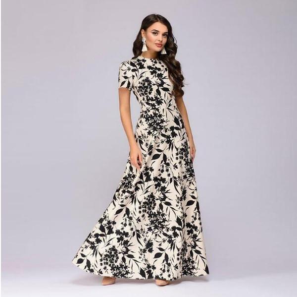 mujeres verano manga corta Vestido largo Floral estampado Boho vestido de fiesta elegante vestido ajustado de fiesta