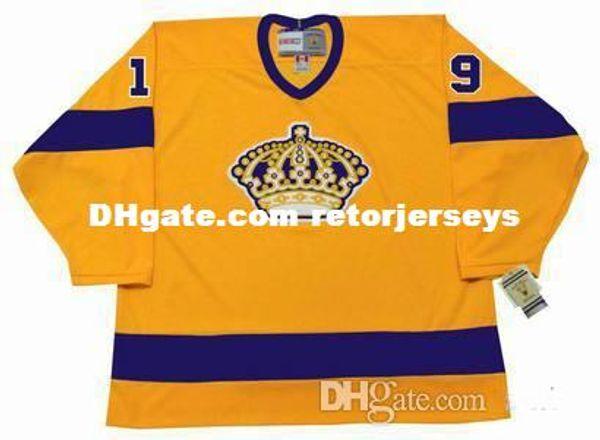 Mens personalizzata personalizzata Jersey Los Angeles Kings Uomo 19 BUTCH GORING Giallo 1970 CCM Vintage Hockey Maglie
