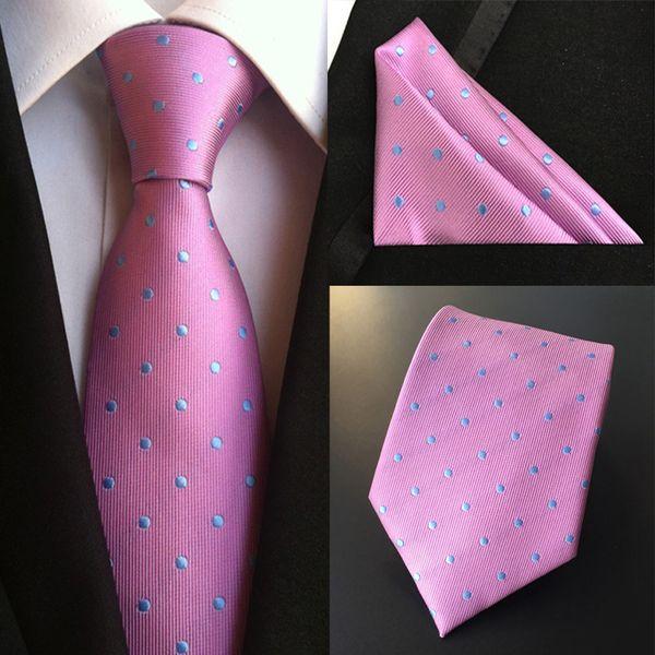 Hombres de la moda 100% del lazo de seda Set (Lazos Pañuelo) Plaza de bolsillo Partido sWedding punto de la flor sólida del lunar corbata pañuelo