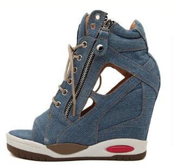 Primavera 2019 colección de verano cuñas sandalias cuñas zapatos de mujer de moda jeans diseñador cuñas B018