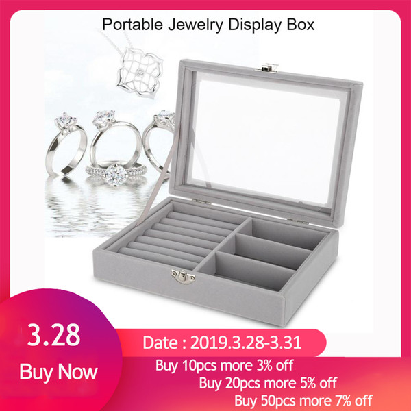 Portable Velvet Jewelry Display Box Tray Holder Storage Organizer Earring Ring Bracelet Makeup Tool Gray Carring Case with Glass