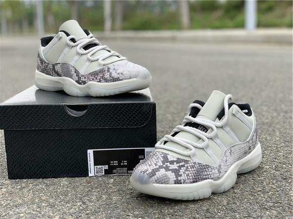 wholesal Release 11 Low SE Snakeskin Light Bone Basketball Shoes 11s Real Carbon Fiber Mens Sports Shoes 88jordan Athletic Sneakers With Box
