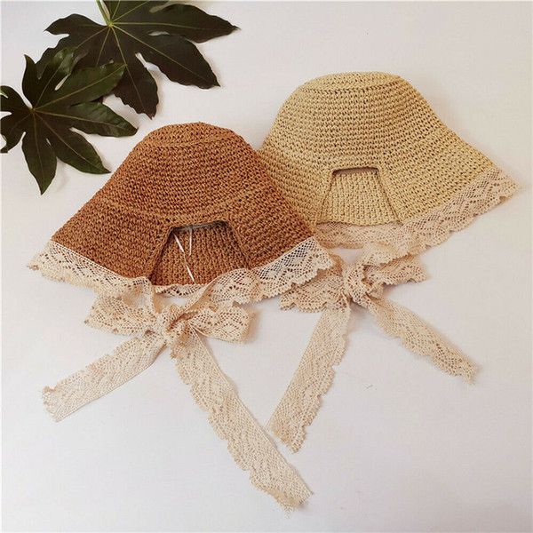 Été pêcheur chapeaux casquettes plage paille parasol bébé filles femmes en plein air pratique dentelle tricoté patchwork plier soleil chapeaux casquettes