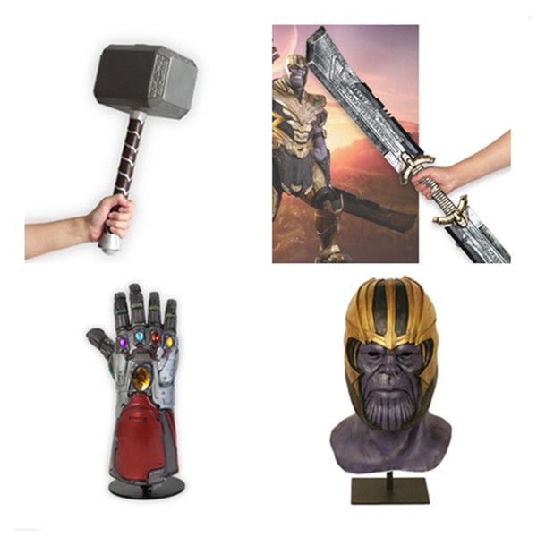 2019 Endgame 4 War Thanos Máscara de látex Thanos Weapo Superhéroe Thor Thunder Hammer Iron Man Tony Stark Glove Cosplay Prop