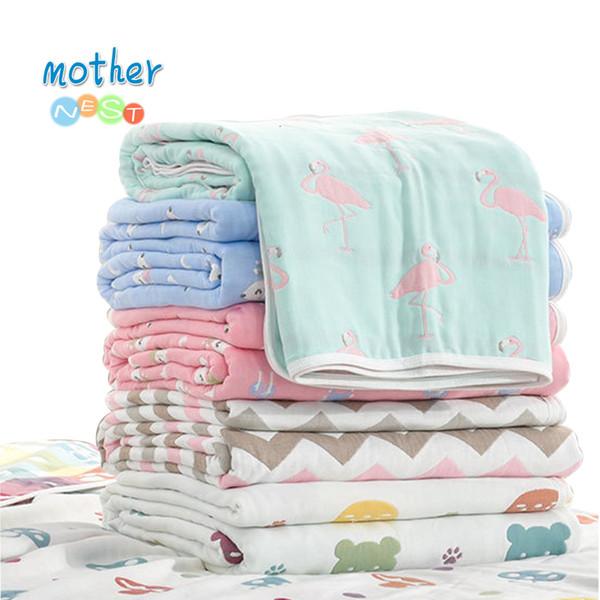 Muslin Baby Swaddle Blanket Baby Blanket 6 Layers Gauze Cotton Swaddle Newborn Baby Bath Towel Swaddle Blankets Multi DesignsMX190910