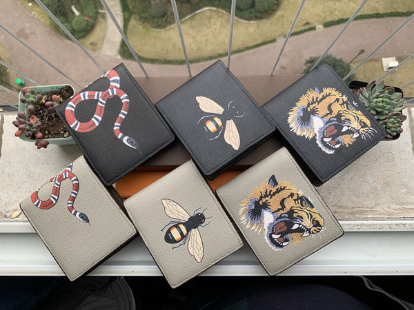 best selling High quality men animal Short Wallet Leather black snake Tiger bee Wallets Women Long Style Purse Wallet card Holders with Cards gift box