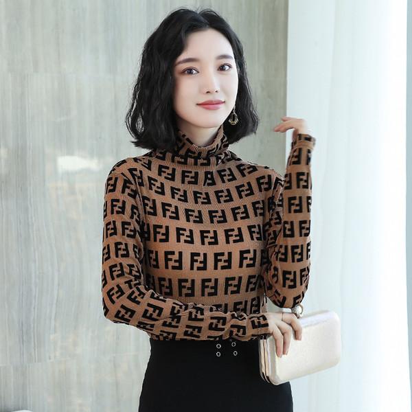 70aec84ff4d61c Spring Casual Women Blouse Shirts Lady Vintage Letter Print Turtleneck Long  Sleeve Blusas Tops