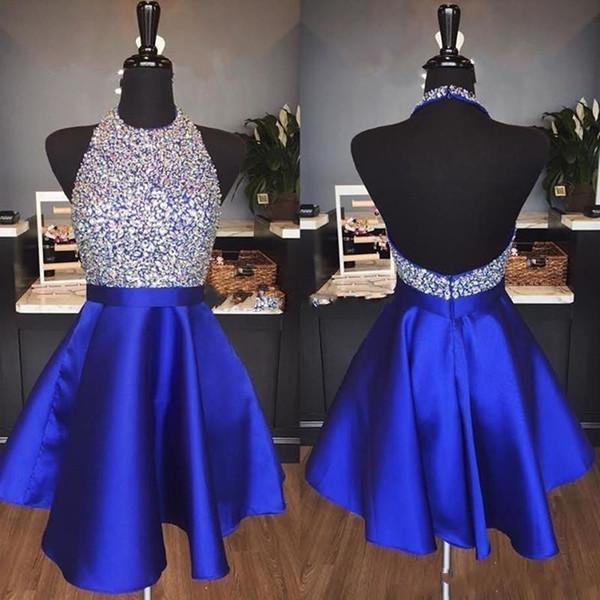 2019 Vestidos de fiesta brillantes de color azul real de moda Una línea de abalorios sin espalda Vestidos de fiesta cortos de cristal para graduación por encargo
