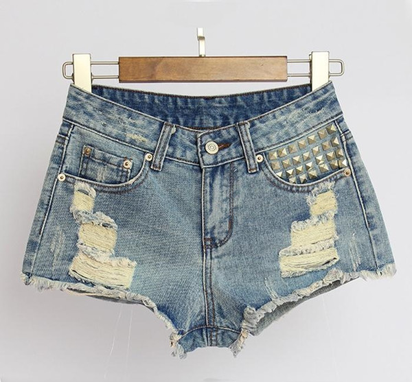 New Style Femmes Rivet Denim Shorts Sexy Ladies 'Club de nuit Shorts Skinny Ripped Mini Jeans Pantalons été Bas BSF0369