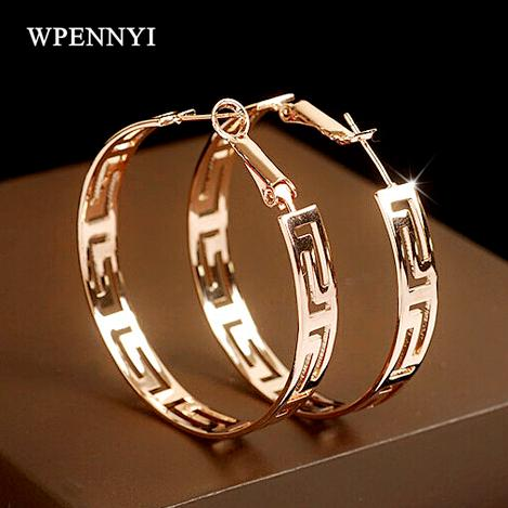 top popular Rose Gold Color Brand Design Round Shape Timeless Styling Exquisite Lady Hoop Earrings 2019