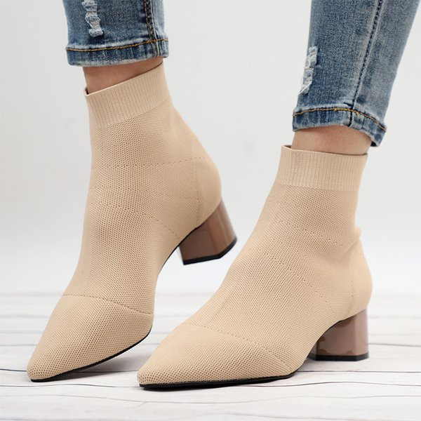 nausk knitting elastic autumn ankle boots square middle heels female pointed toe short sock boot ladies casual fashion shoes