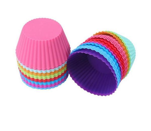 ¡Gran venta! Forma redonda Silicona Muffin Cupcake Molde Molde para hornear Bandeja de moldes Bandeja de la taza para hornear Liner Moldes para hornear
