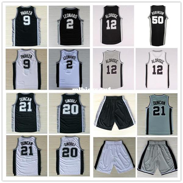 TD n ° 21 kl n ° 2 Lamarcus Aldridge n ° 12 Tony Parker n ° 9 Manu Ginobili n ° 20 David Robinson n ° 50 maillot de basketball Collège Ncaa