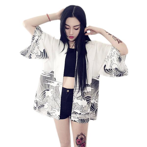 Harajuku Kimono Hırka 2019 Vintage Rahat Yaz Ejderha Dalgalar Baskılı Şifon Güneş Koruma Kadın Giyim Giyim Bluz Q190401