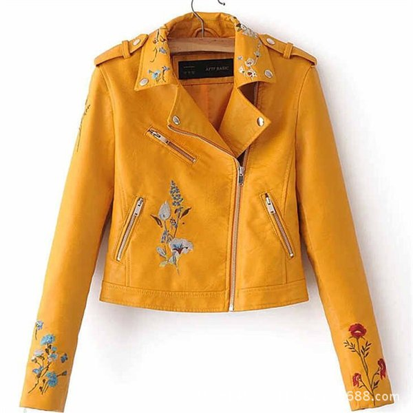 Product Fashion Flower Embroidery PU Skin Short Jacket Loose Coat Woman Factory