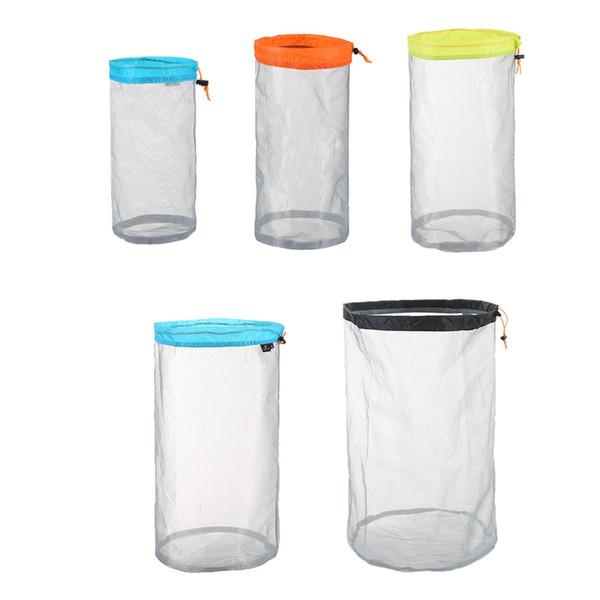 top popular Laundry Outdoor Sleeping Bag Ultra light Mesh Stuff Sack Camping Storage Bags Hiking Tools Climbing Drawstring bag MMA1882 2019