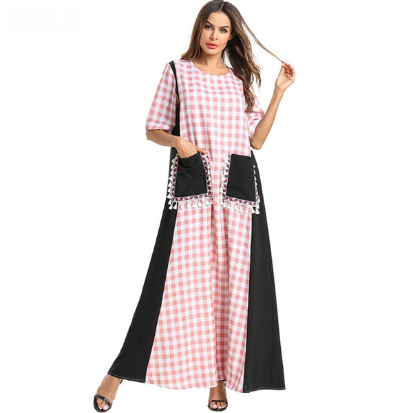 Summer Fashion Women Short Sleeve Plaid Printed Tassel Patchwork Muslim Abaya Dubai Middle East Long Maxi dress with pockets plus size